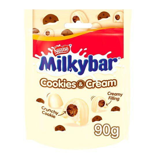 Milkybar Cookies & Cream Pouches 8x90g